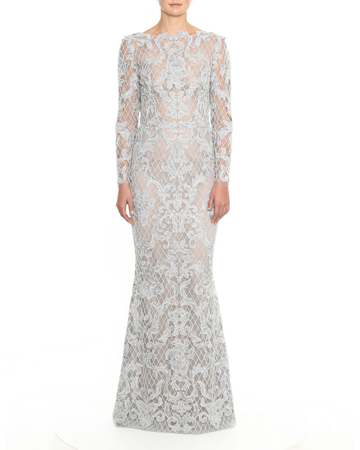 Embroidered Damask Lace Gown