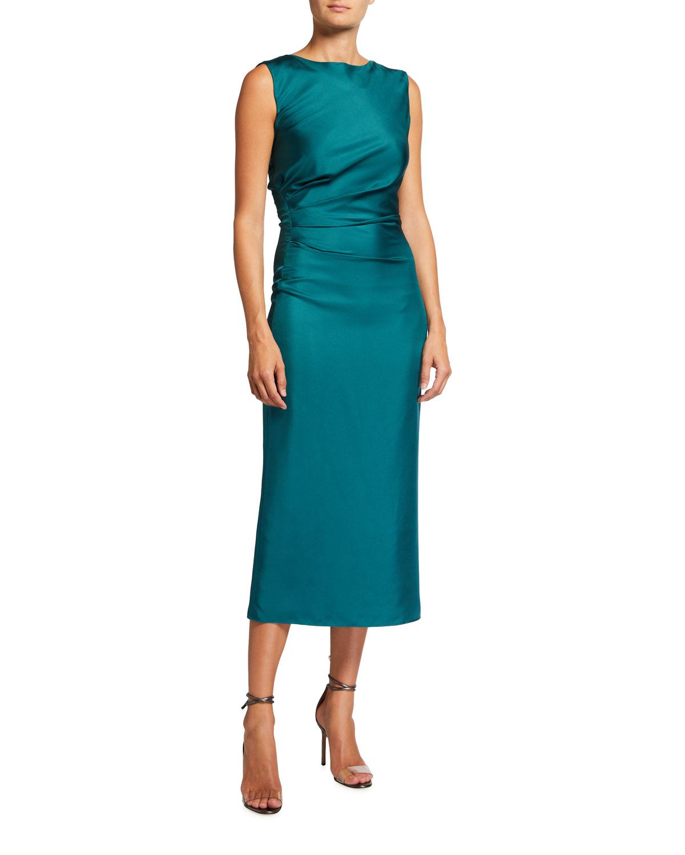 Draped Silk Column Midi Dress