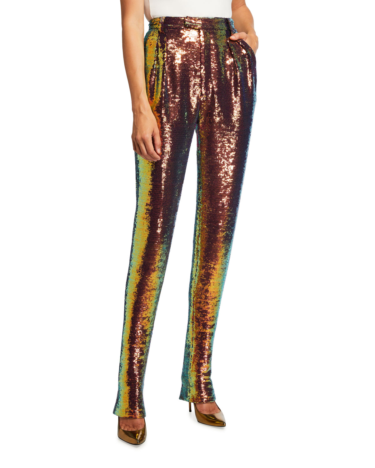 Iridescent Sequin Pleated Trousers