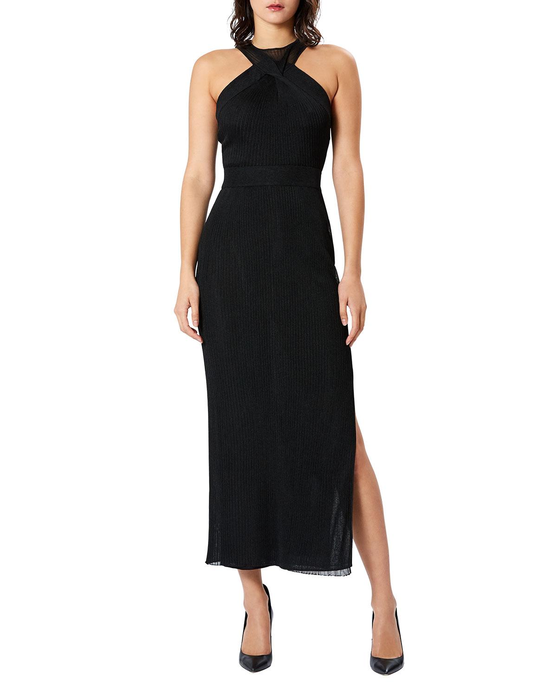 Crossover Side-Slit Column Gown