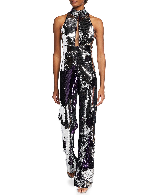 Laure Sequined Cutout Jumpsuit