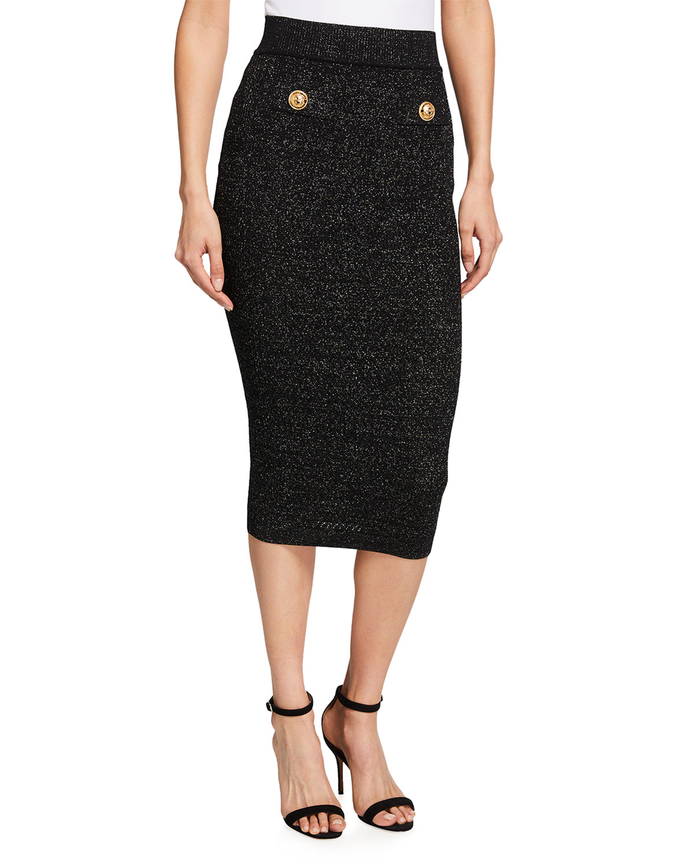 Metallic Body-Con Midi Skirt