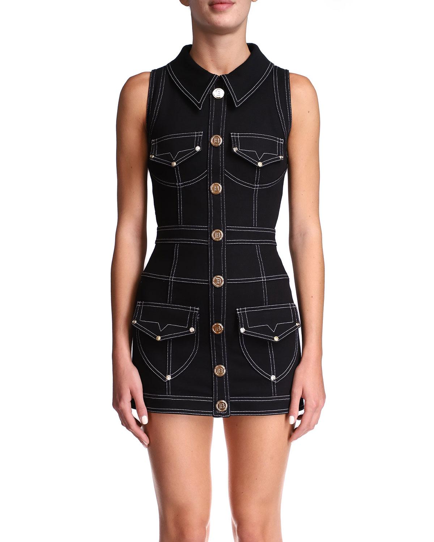 Short Topstitched Button-Front Dress
