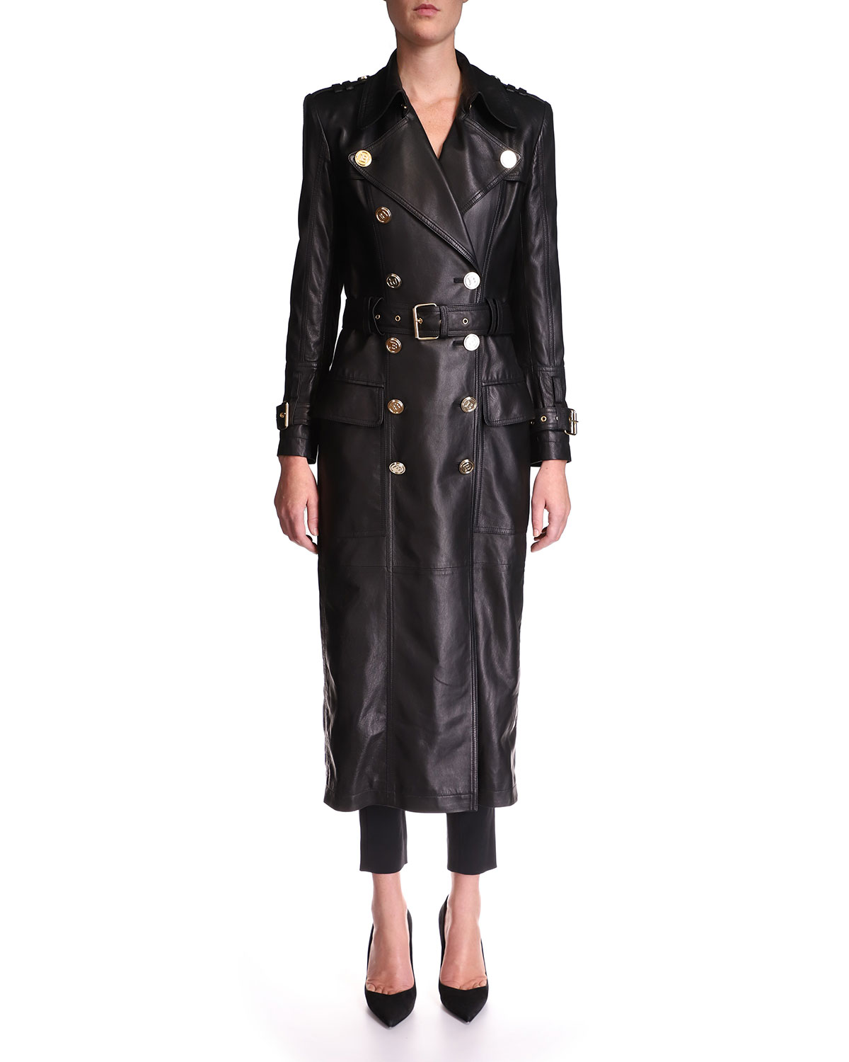 Balmain Leathers DOUBLE-BREASTED LEATHER BELTED TRENCH COAT