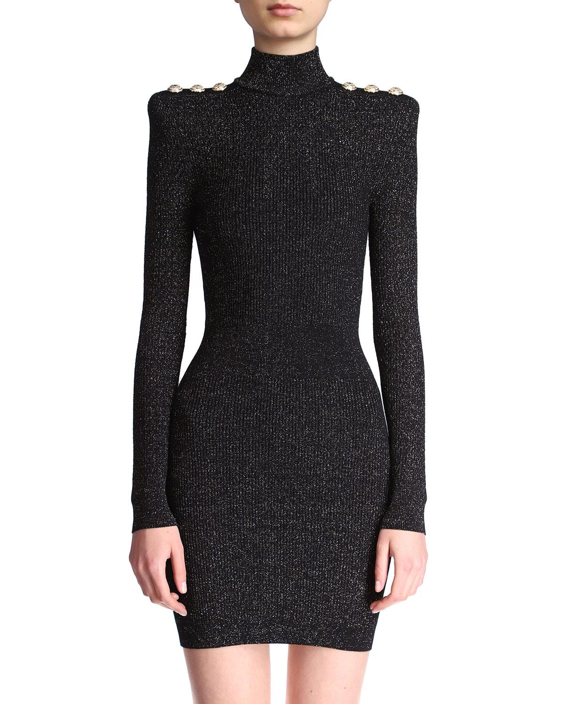 Metallic Body-Con Knit Dress