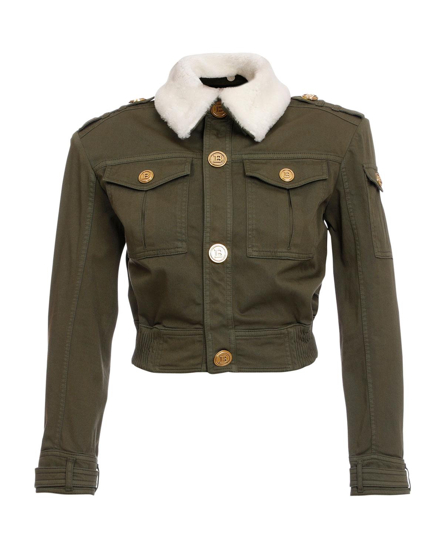 Denim Jacket w/ Fur Collar