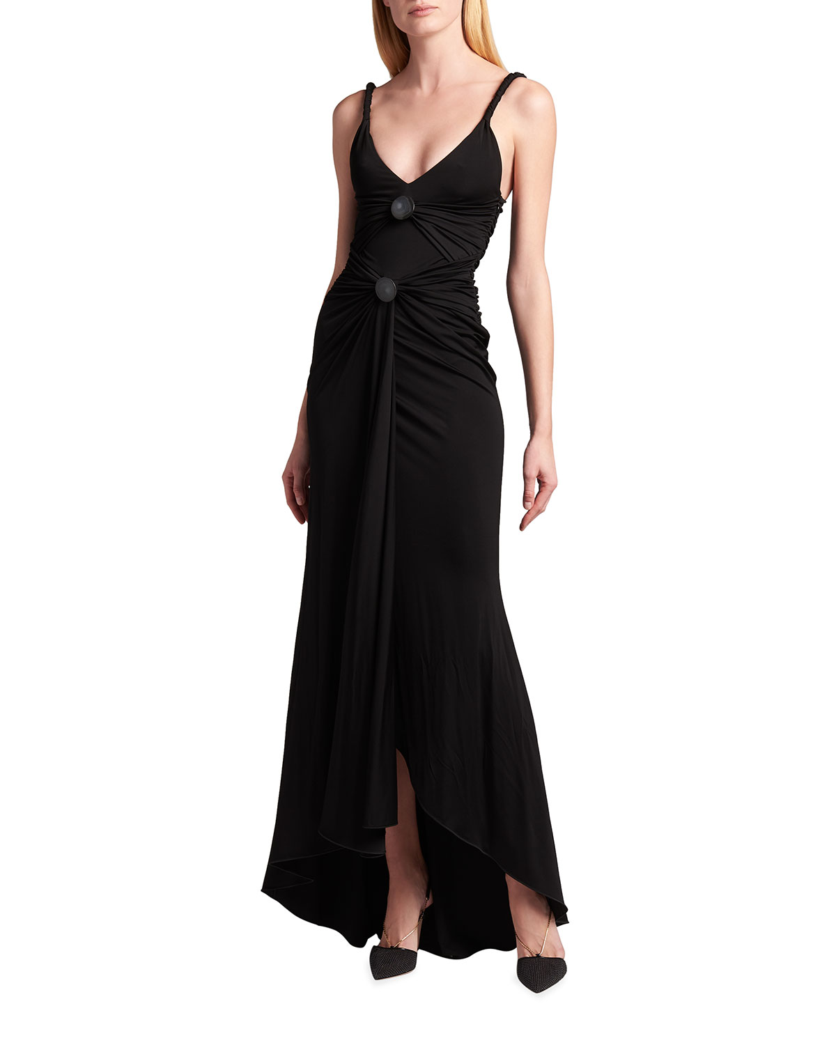 Giorgio Armani HIGH-LOW FRONT RUCHED JERSEY GOWN