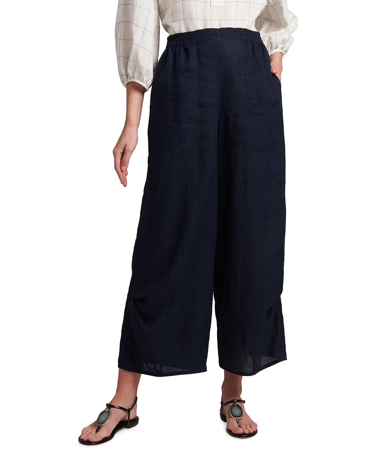 Giorgio Armani WASHED LINEN PULL-ON TROUSERS