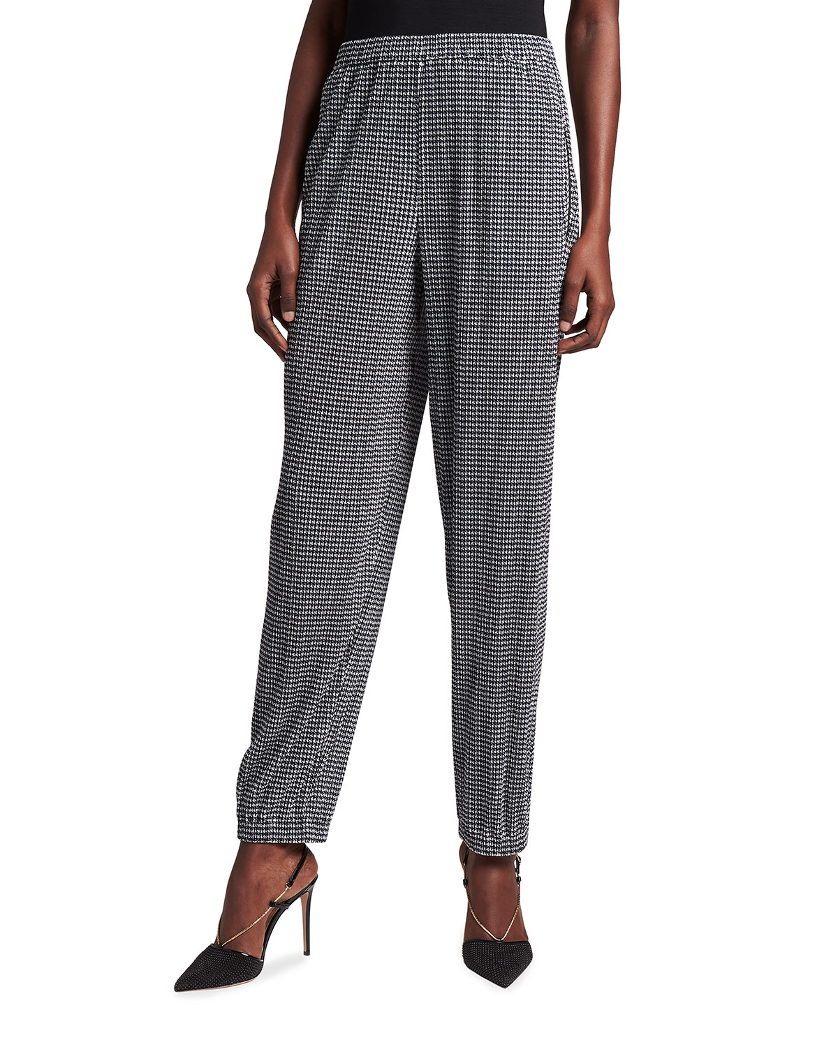 Giorgio Armani HOUNDSTOOTH PRINTED JERSEY TROUSERS