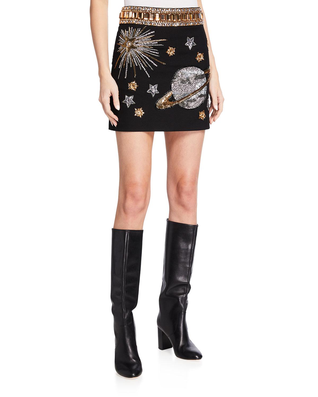 Space-Beaded Wool Miniskirt