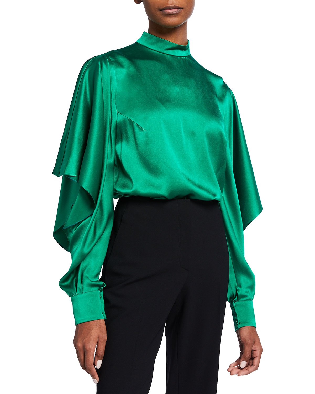 Silk Draped-Sleeve Blouse