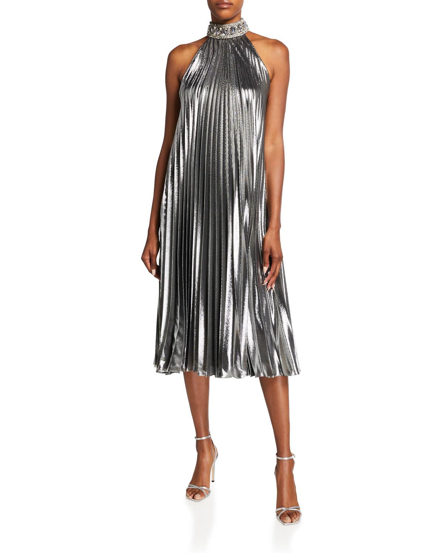 Metallic Pleated Midi Dress w/ Crystal Embellishment