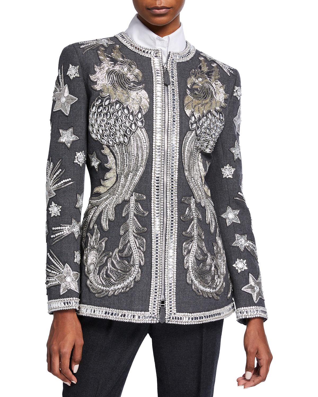 Metallic Crystal-Embellished Wool Jacket