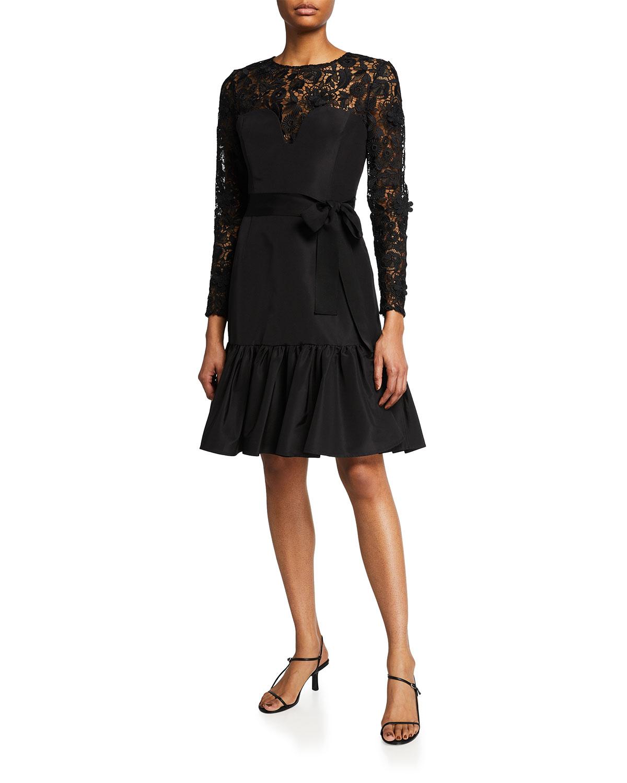 Carolina Herrera Mini dresses FLORAL LACE BELTED RUFFLE-HEM DRESS