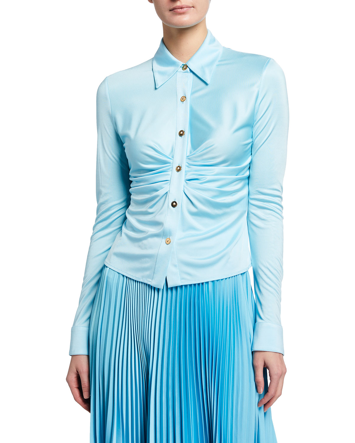 Versace MEDUSA BUTTON-FRONT RUCHED LONG-SLEEVE TOP
