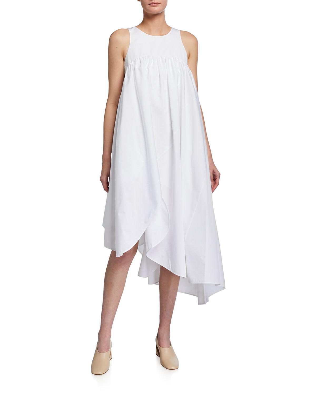 Nina Ricci SLEEVELESS WIDE-FIT ASYMMETRIC MIDI POPLIN DRESS