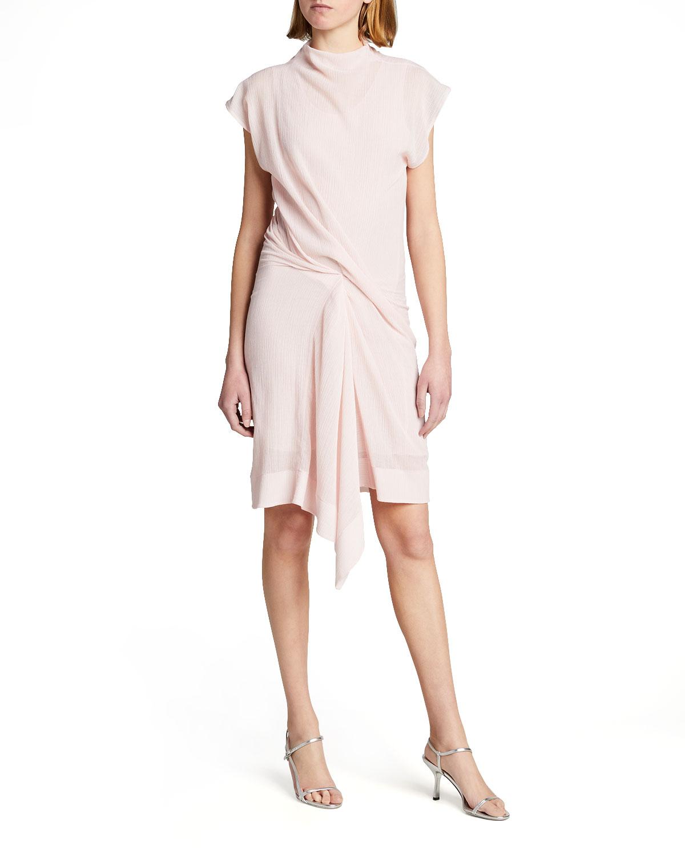 Nina Ricci HIGH-NECK CAP-SLEEVE GATHERED CREPON DRESS