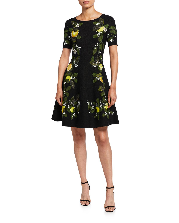 Oscar De La Renta Silks LEMON JACQUARD FIT-&-FLARE DRESS