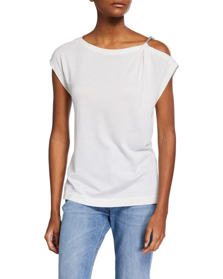 Brunello Cucinelli Draped Cashmere-Blend Top w/ Monili Detail