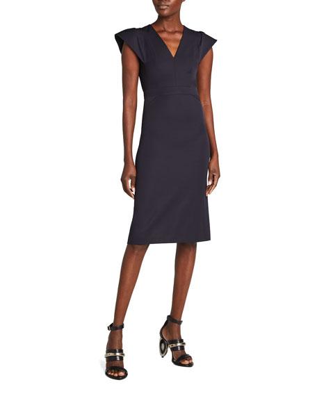 Alexander McQueen Wool Cap-Sleeve Sheath Dress