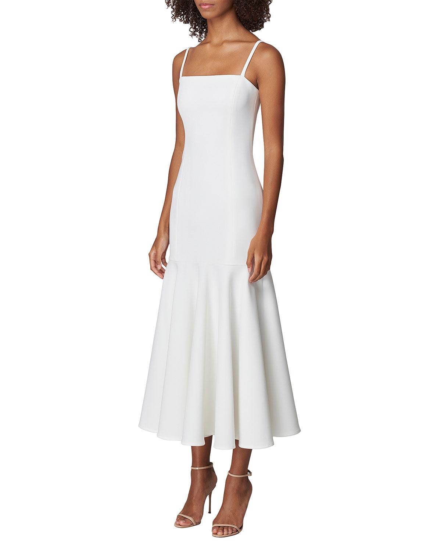 Crepe Drop-Waist Flounce Midi Dress