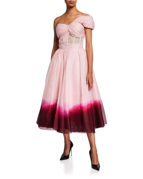 Alexander McQueen One-Shoulder Dip-Dye Bustier Midi Dress