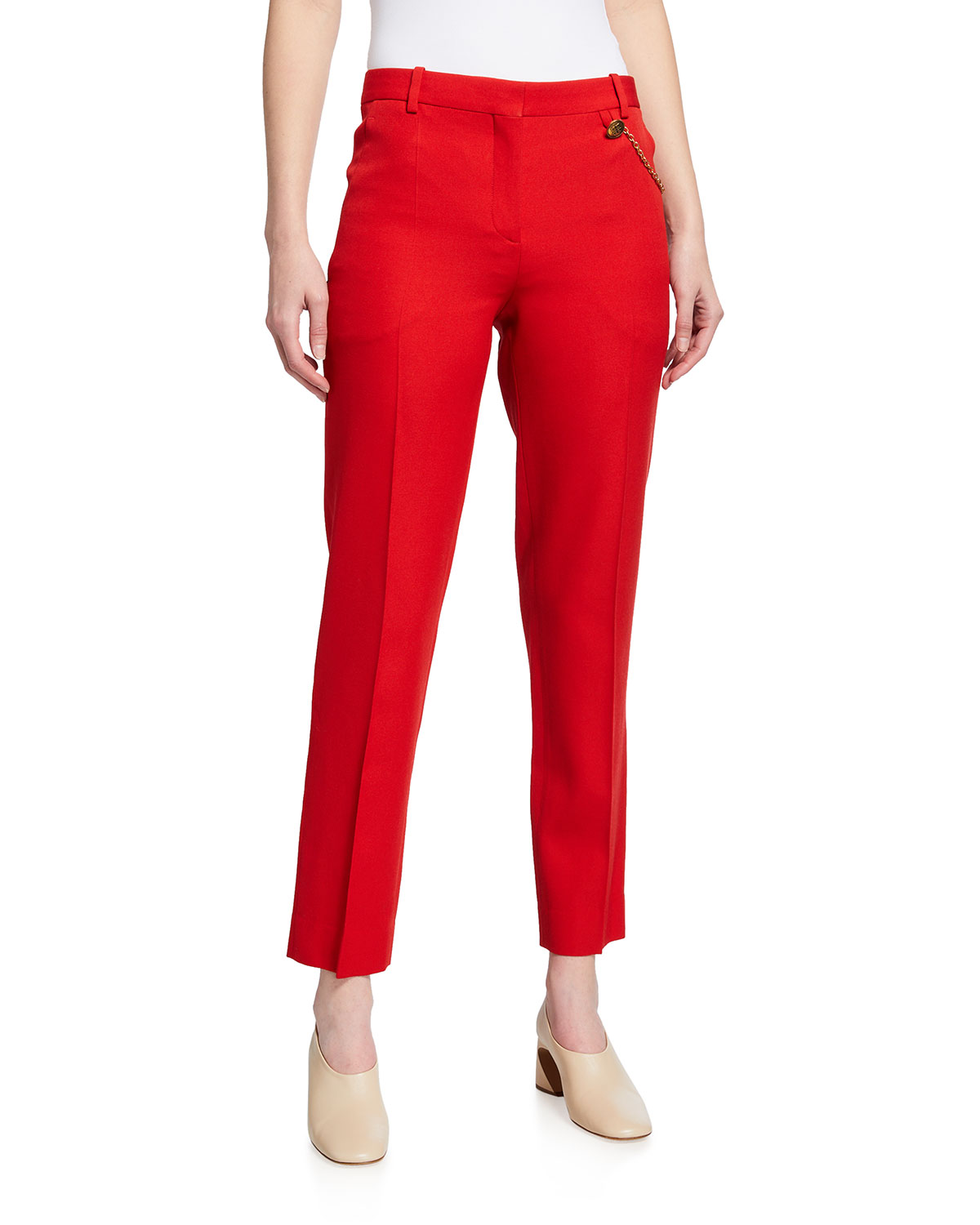 Givenchy SOLID WOOL ANKLE-LENGTH CIGARETTE TROUSERS W/ CHAIN