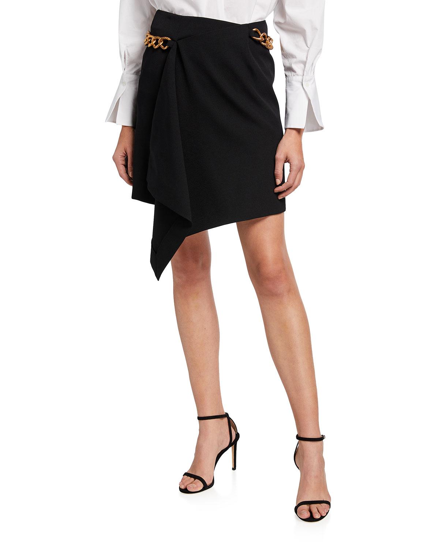 Chain Belted Asymmetrical Mini Skirt