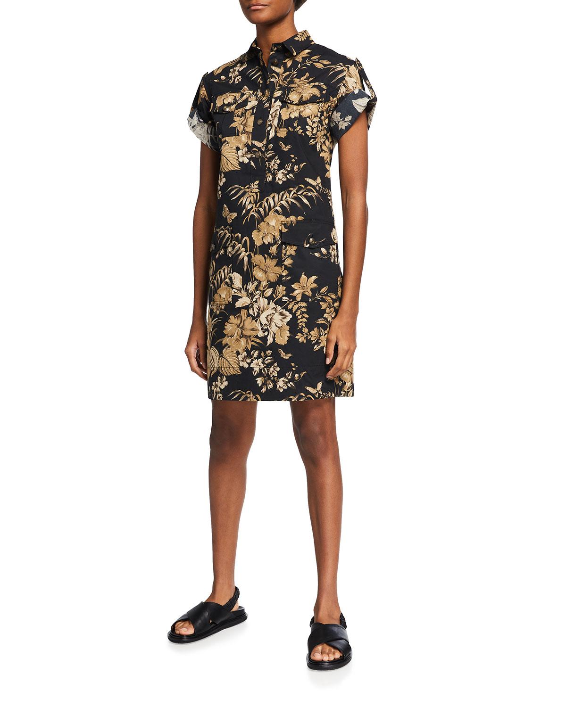 Jungle Leaf-Print Short-Sleeve Cady Dress
