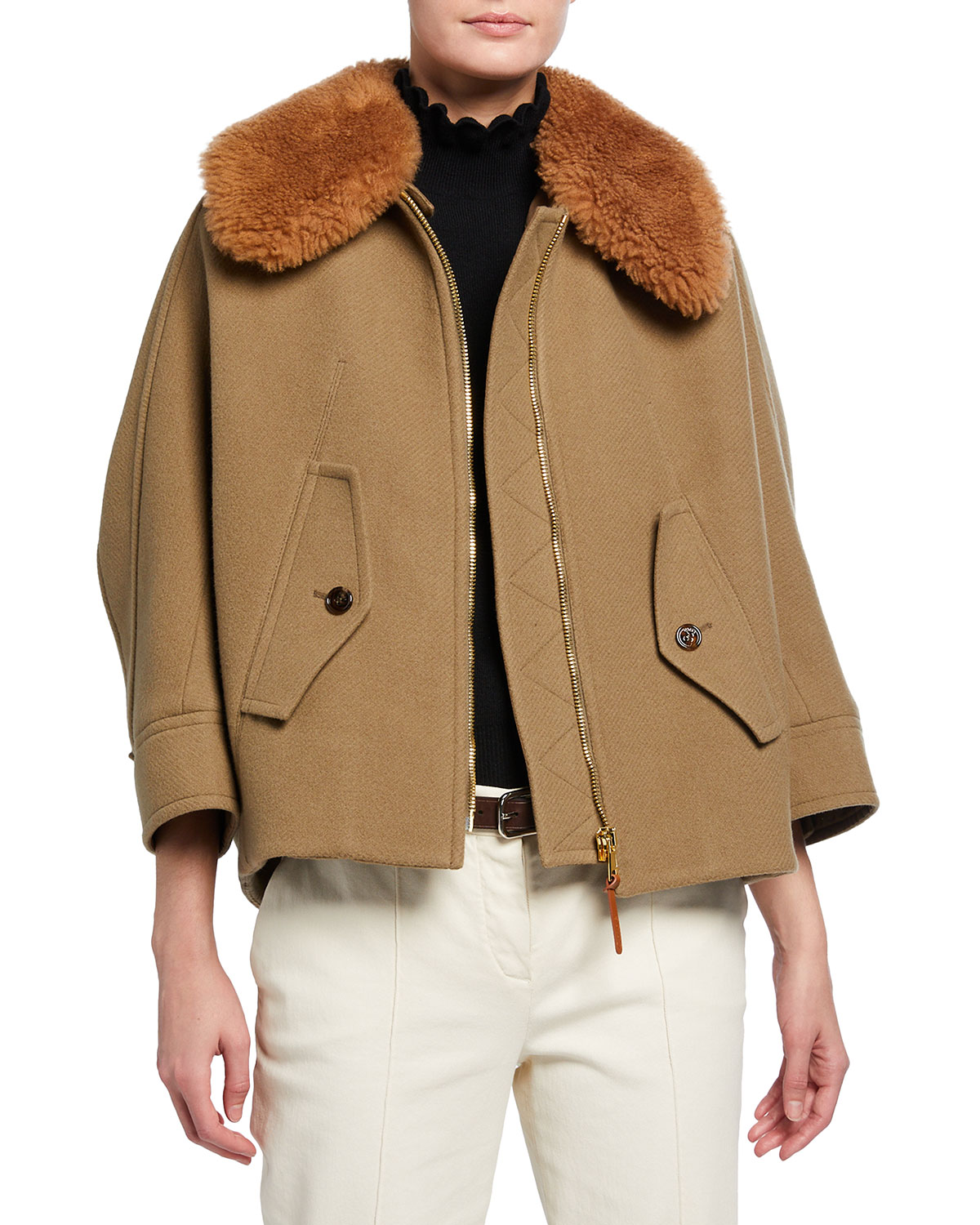 Chloé AVIATOR DETACHABLE SHEARLING COLLAR JACKET
