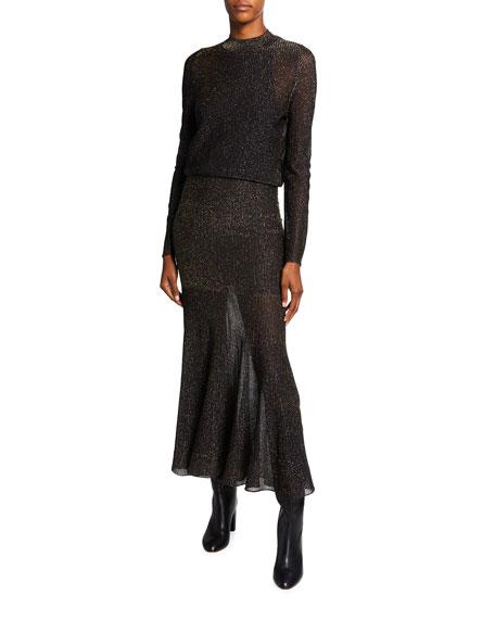 Victoria Beckham Metallic Striped Open-Back Long-Sleeve Dress