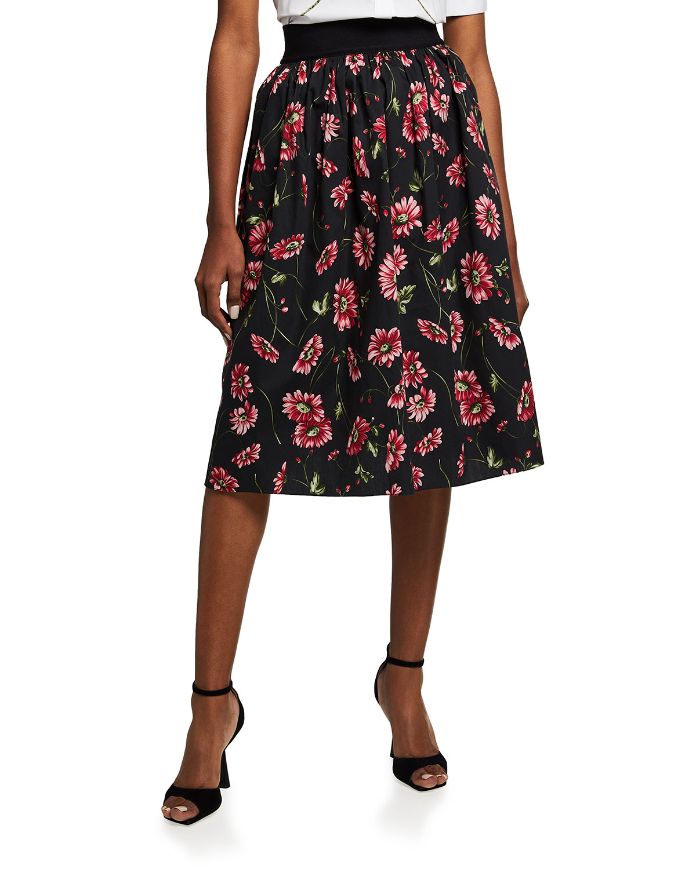 Floral-Print Poplin Midi Skirt