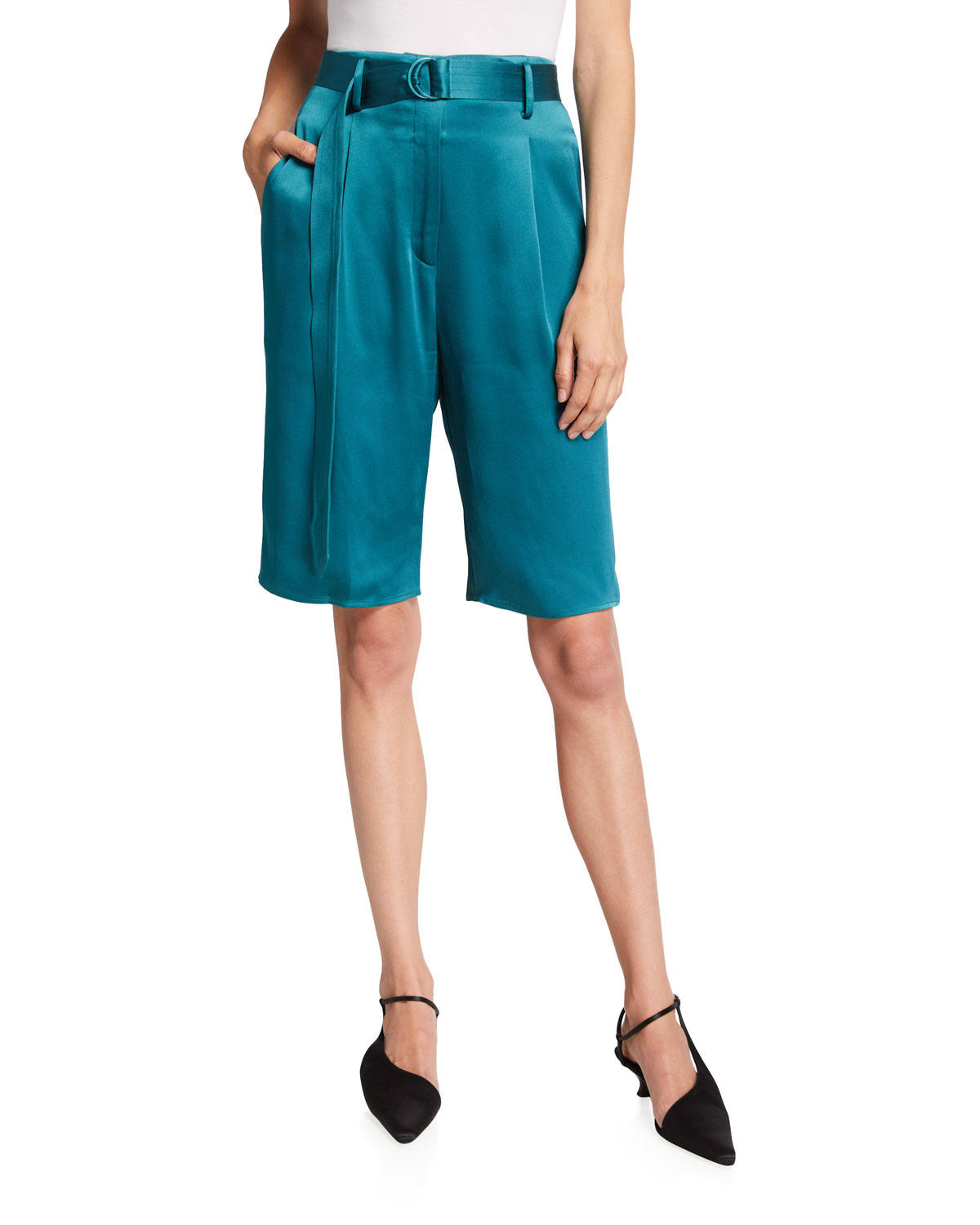 Belted Double-Face Satin Bermuda Shorts