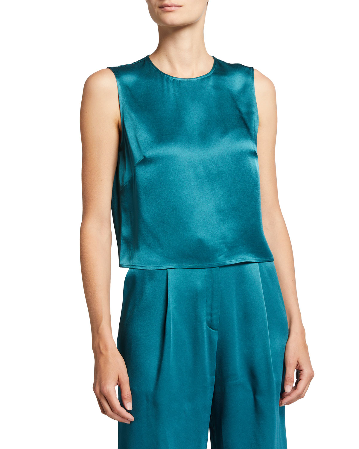 Double-Face Satin Cropped Tank