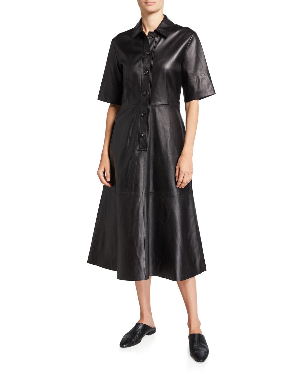 Leather Midi Shirtdress