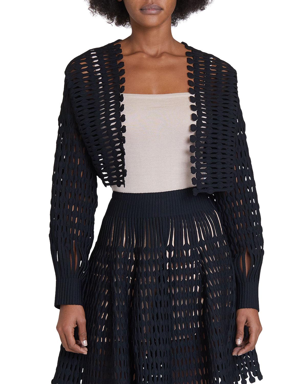 Open Crochet Fringe-Trim Cropped Jacket