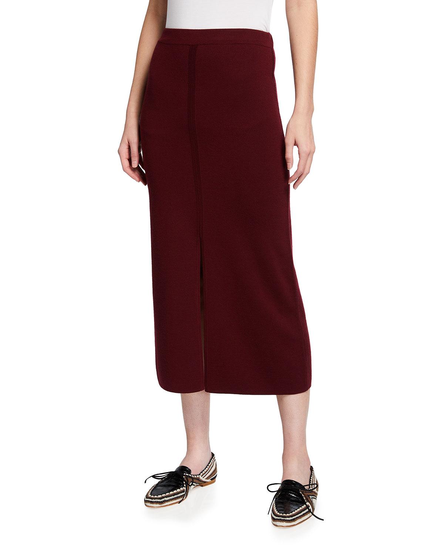 Hodgkins Front-Slit Knit Midi Skirt