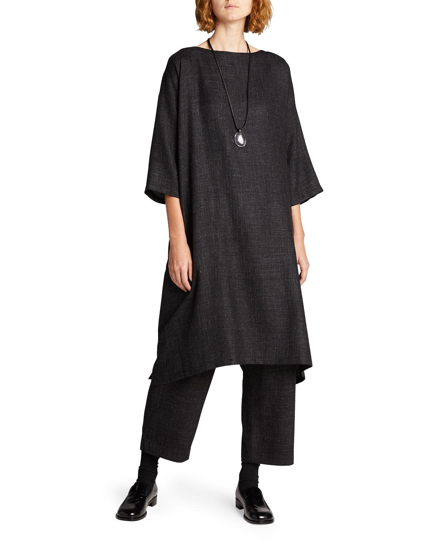 Wide A-Line Alpaca-Blend Dress