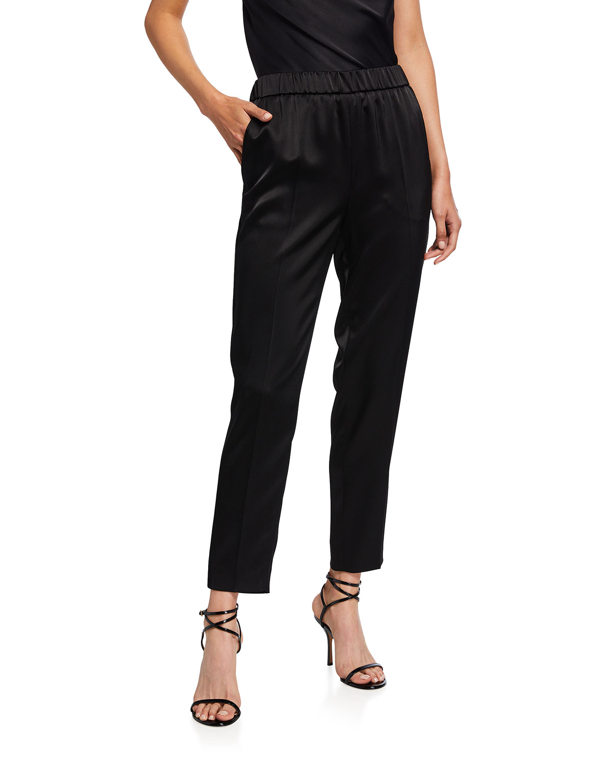 Cropped Satin Pull-On Pants