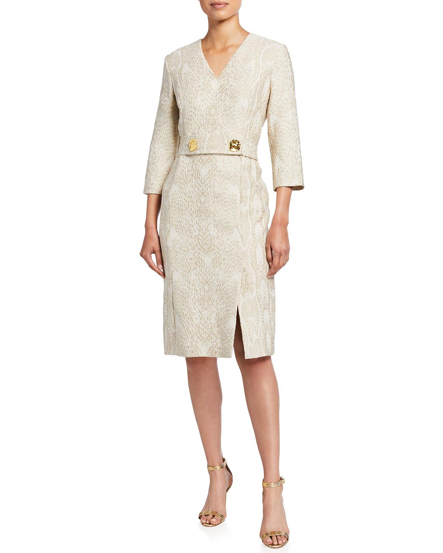 Python Jacquard 3/4-Sleeve Dress
