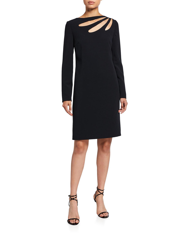 Cutout Crepe Shift Dress