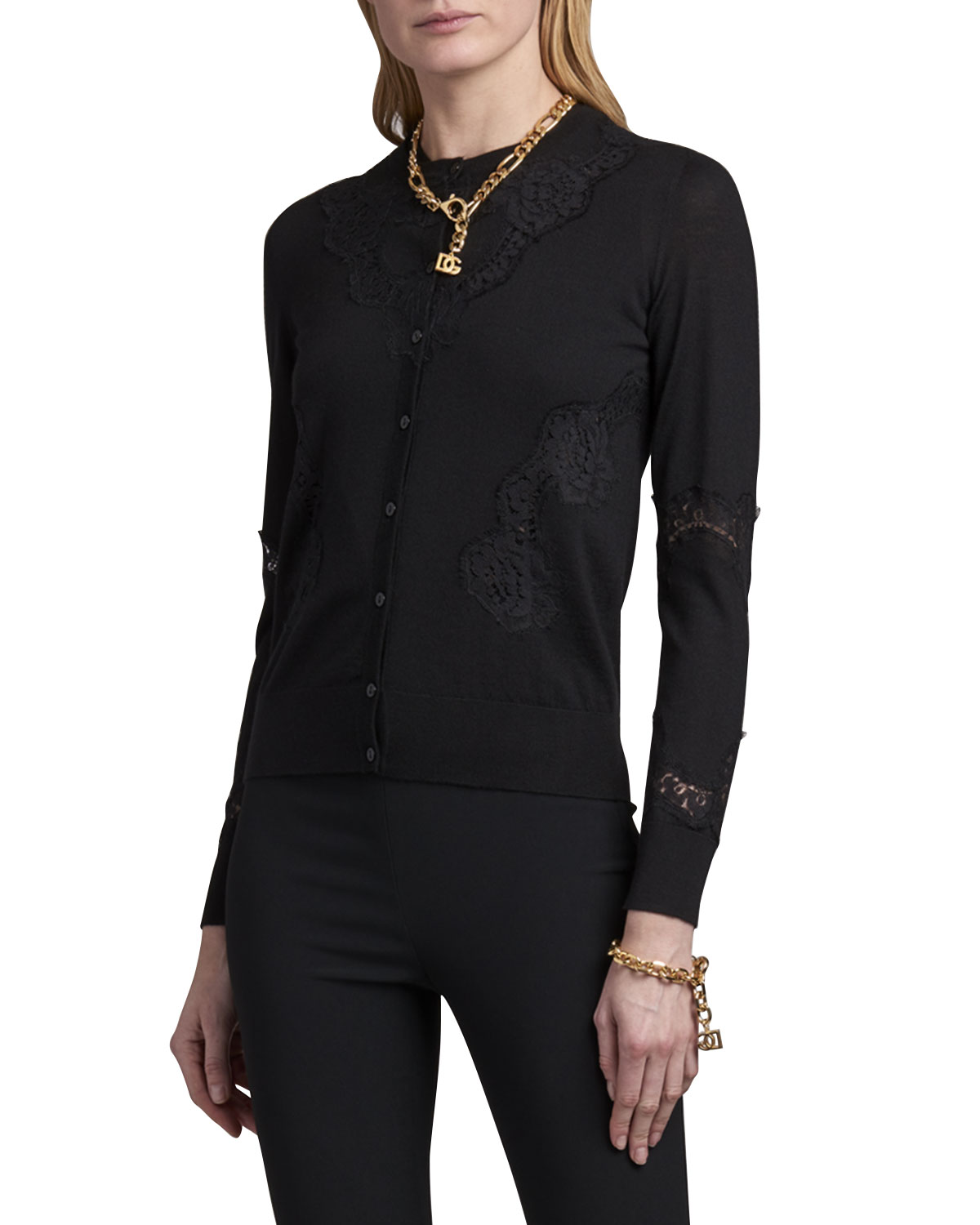 Dolce & Gabbana LONG-SLEEVE LACE BUTTON-FRONT CARDIGAN