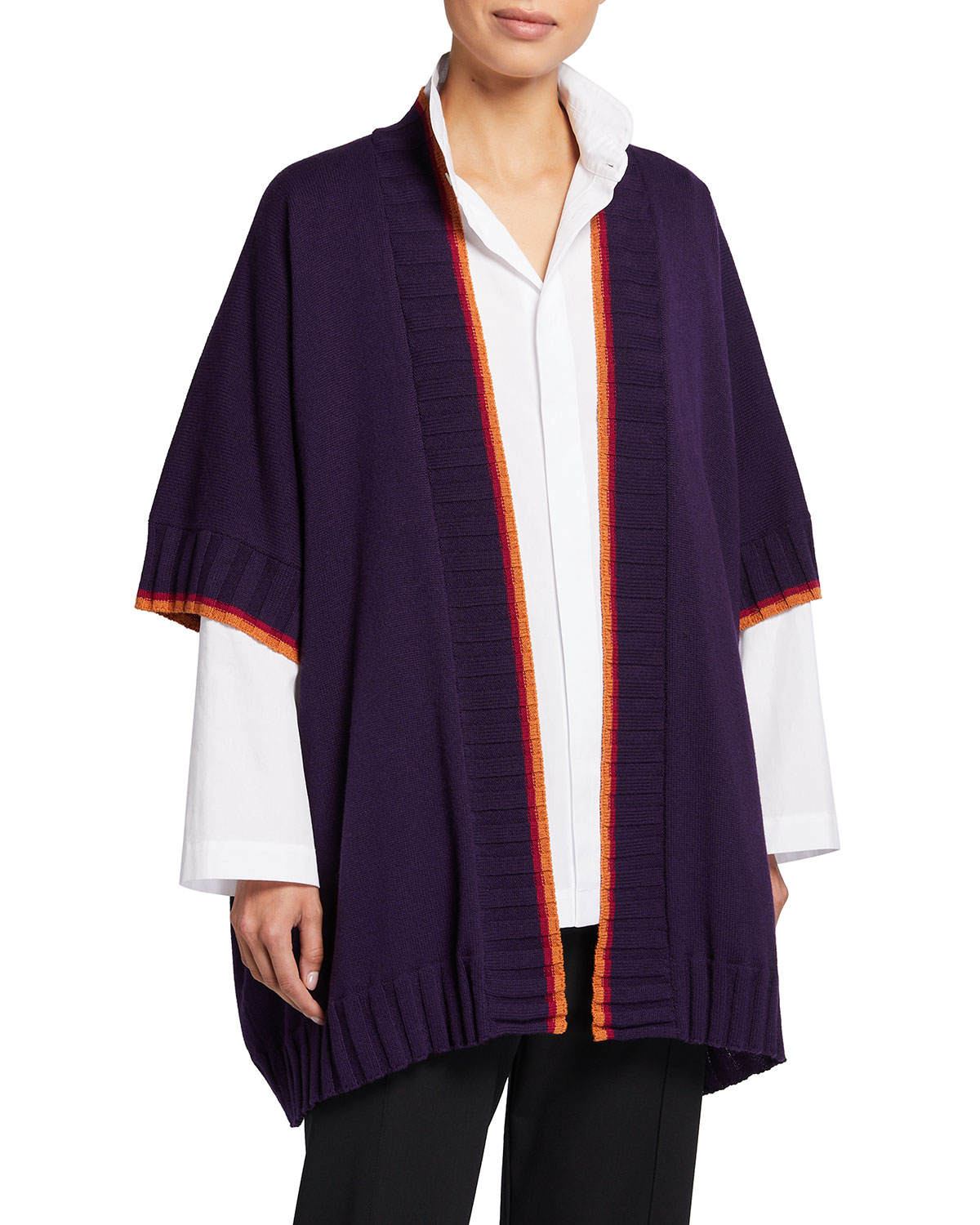 3/4-Width Square Poncho Cardigan with Ribs