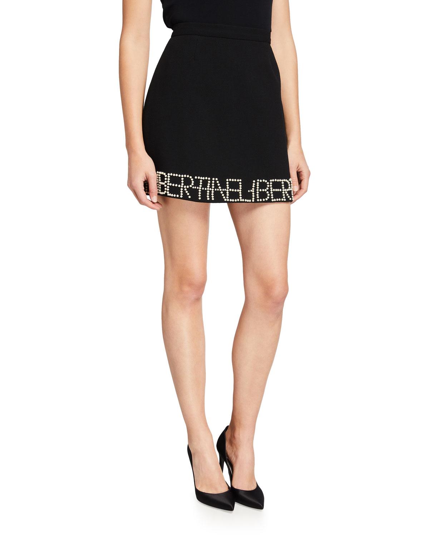 Logo Pearl-Embellished Mini Skirt