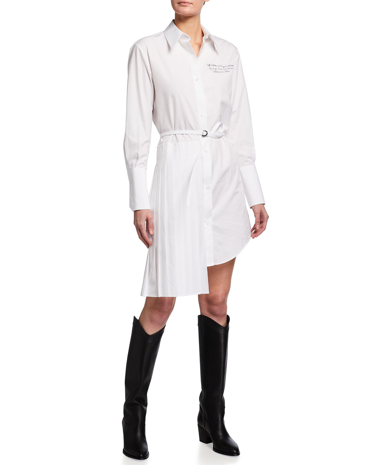 Off-White BUTTON-DOWN BELTED COTTON SHIRTDRESS