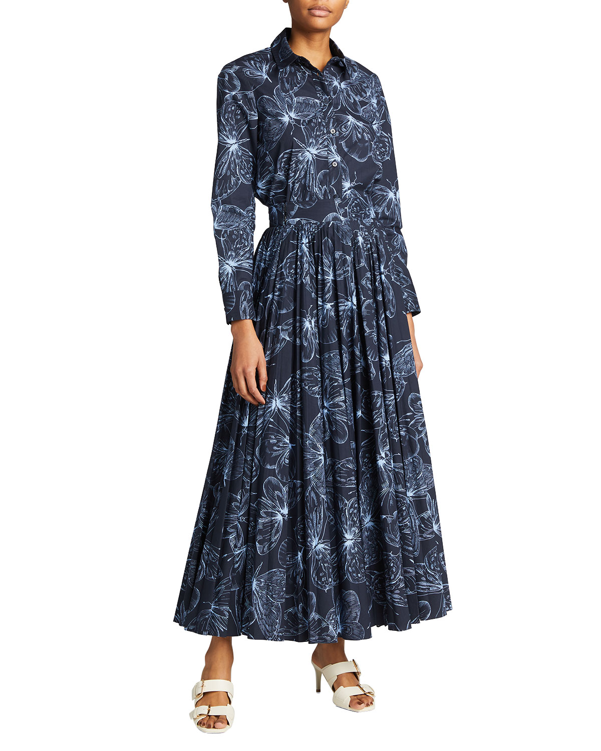 Pleated Butterfly-Print Maxi Skirt