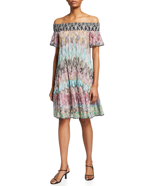 Missoni Dresses OFF-THE-SHOULDER PRINTED MINI DRESS