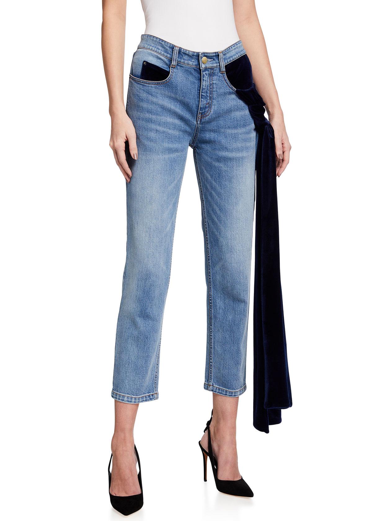 Ramy Mid-Rise Convertible Sash Denim Jeans