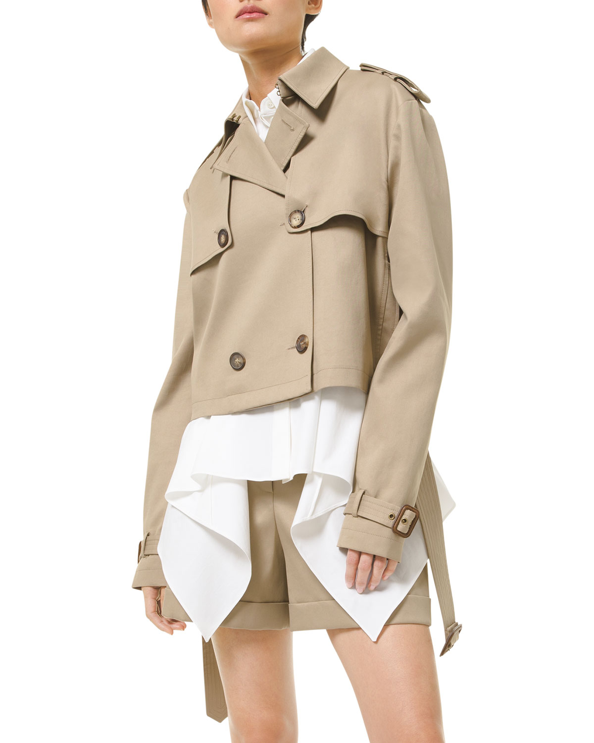 Michael Kors Cropped Belted Cotton-twill Jacket In Beige