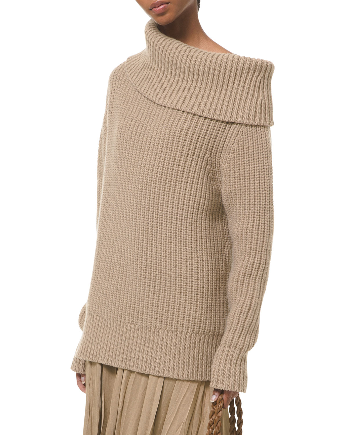 Michael Kors CUFF-NECK SHAKER CASHMERE SWEATER